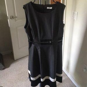 Women's gray, black and white dress